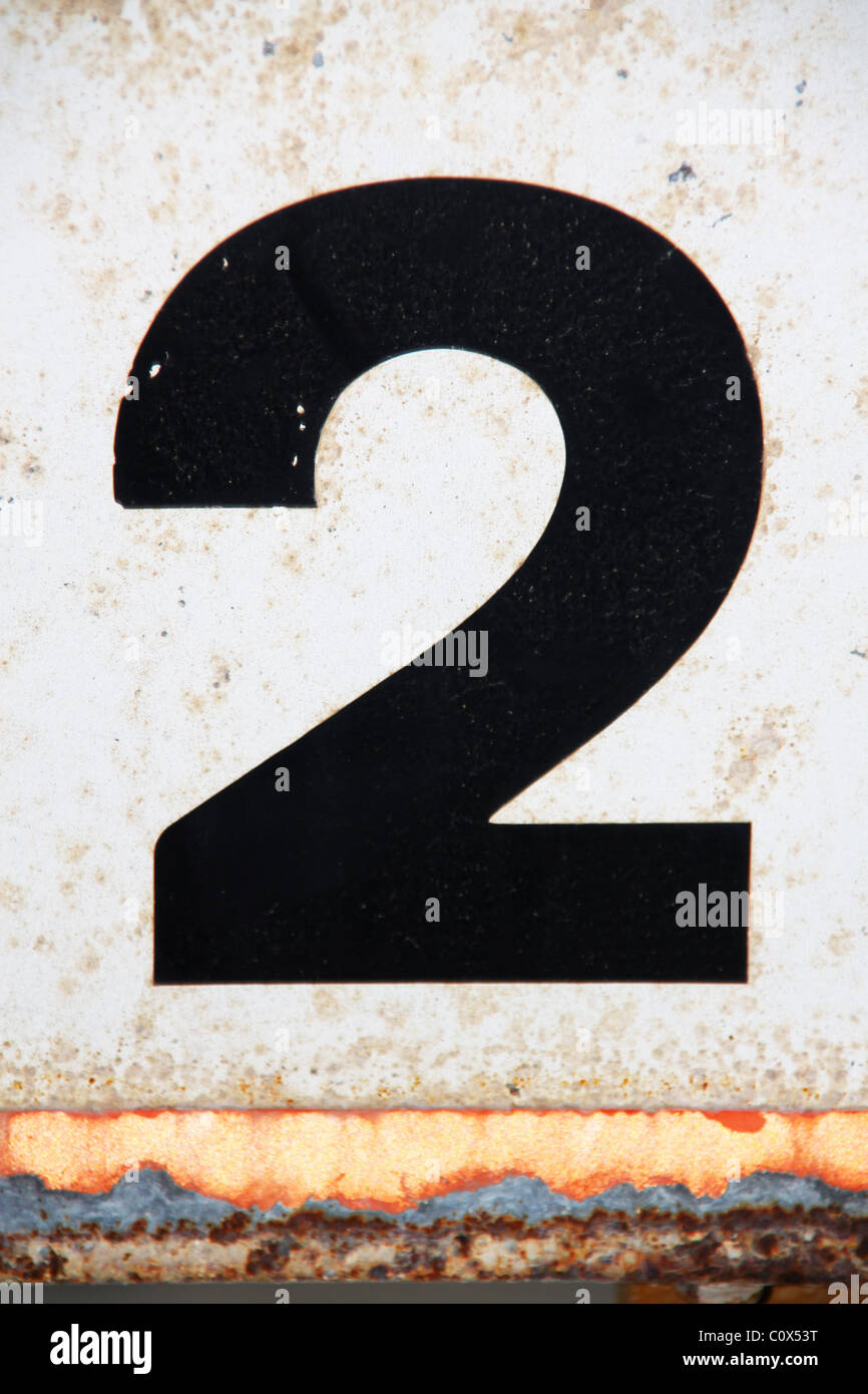 Black figure number numeral 2 on white background Stock Photo