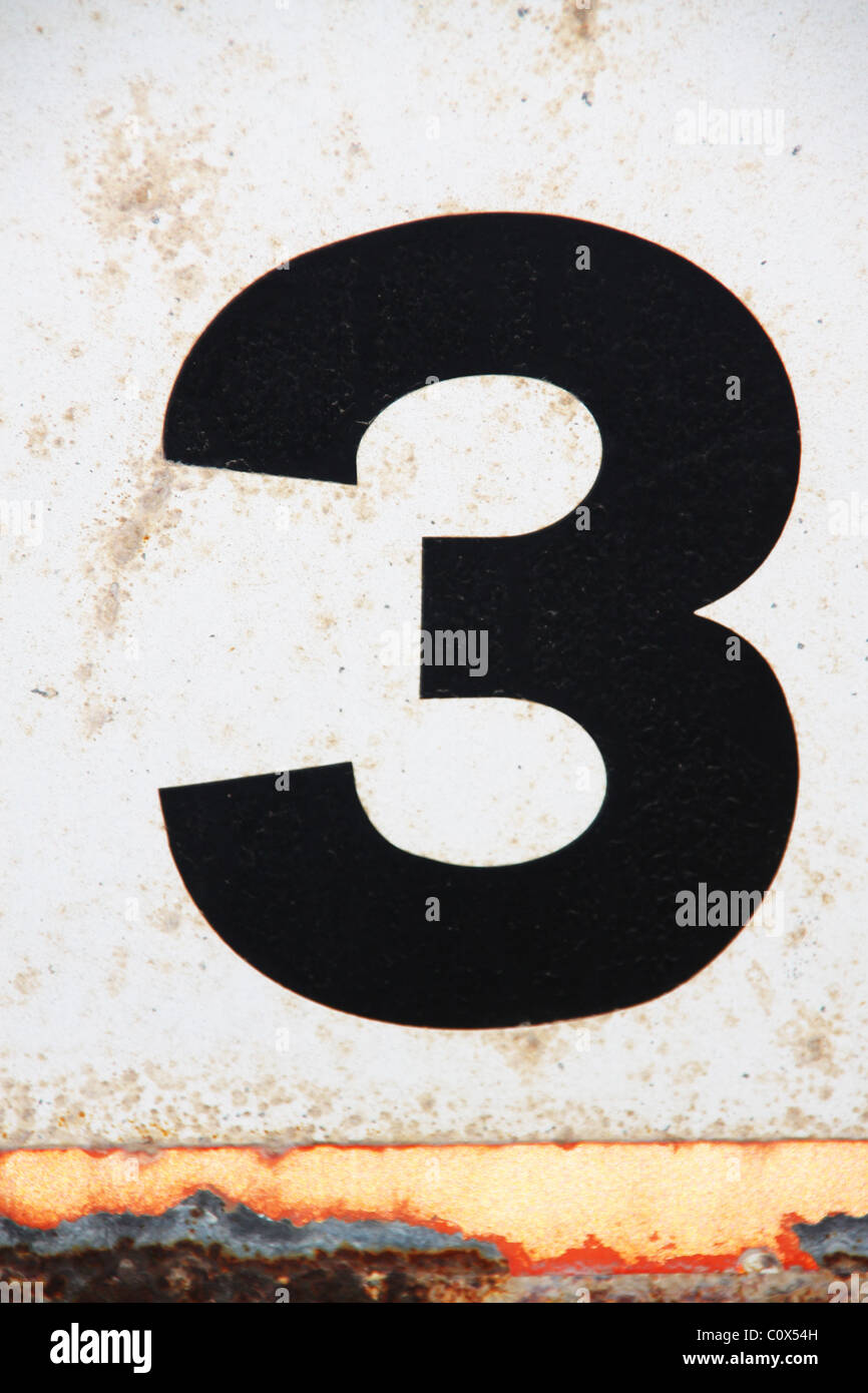 Black figure number numeral 3 on white background - Stock Image