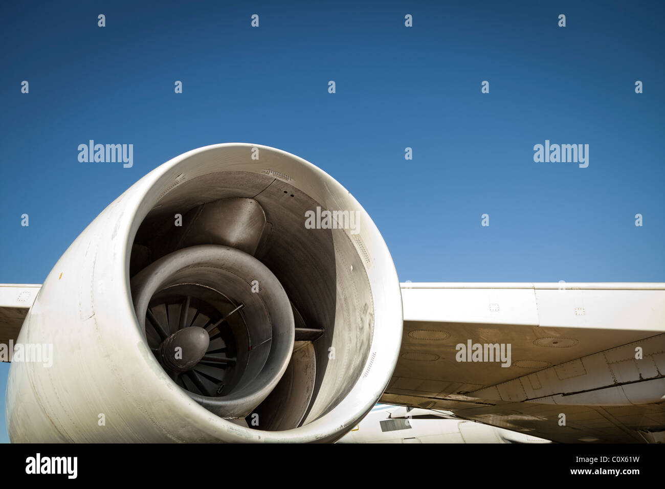 Jet aircraft plane details against blue sky. Engine.  Aircraft:  Convair CV-990 - Stock Image