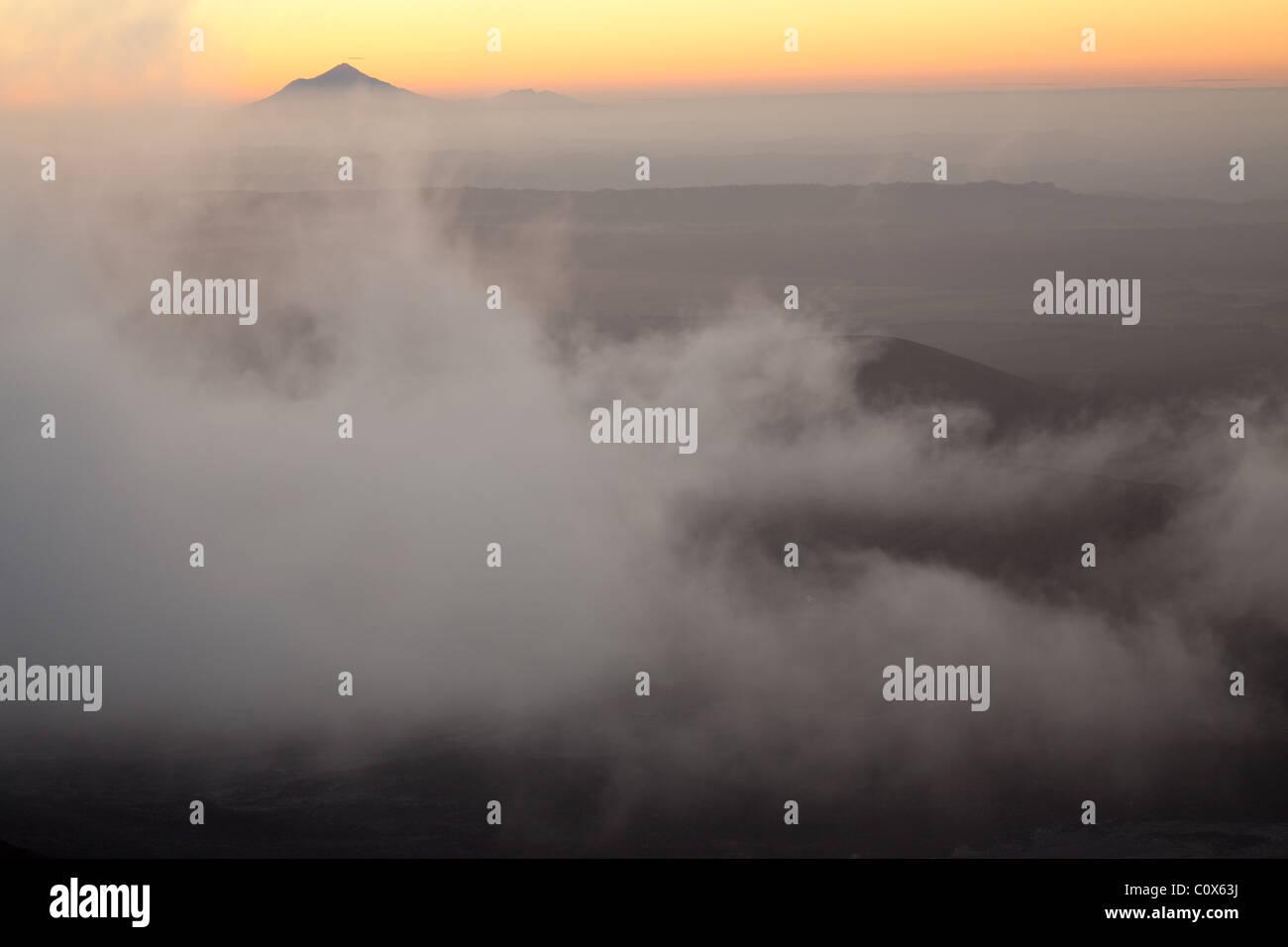 looking across Mangatepopo Valley, Tongariro Alpine Crossing, Tongariro National Park, North Island, New Zealand - Stock Image