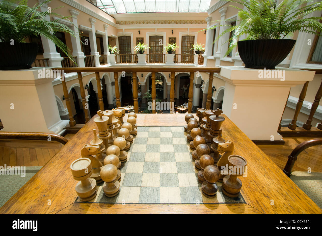 Chess Set and Atrium at Hotel Patio Andaluz - Quito, Ecuador - Chess Set And Atrium At Hotel Patio Andaluz - Quito, Ecuador Stock