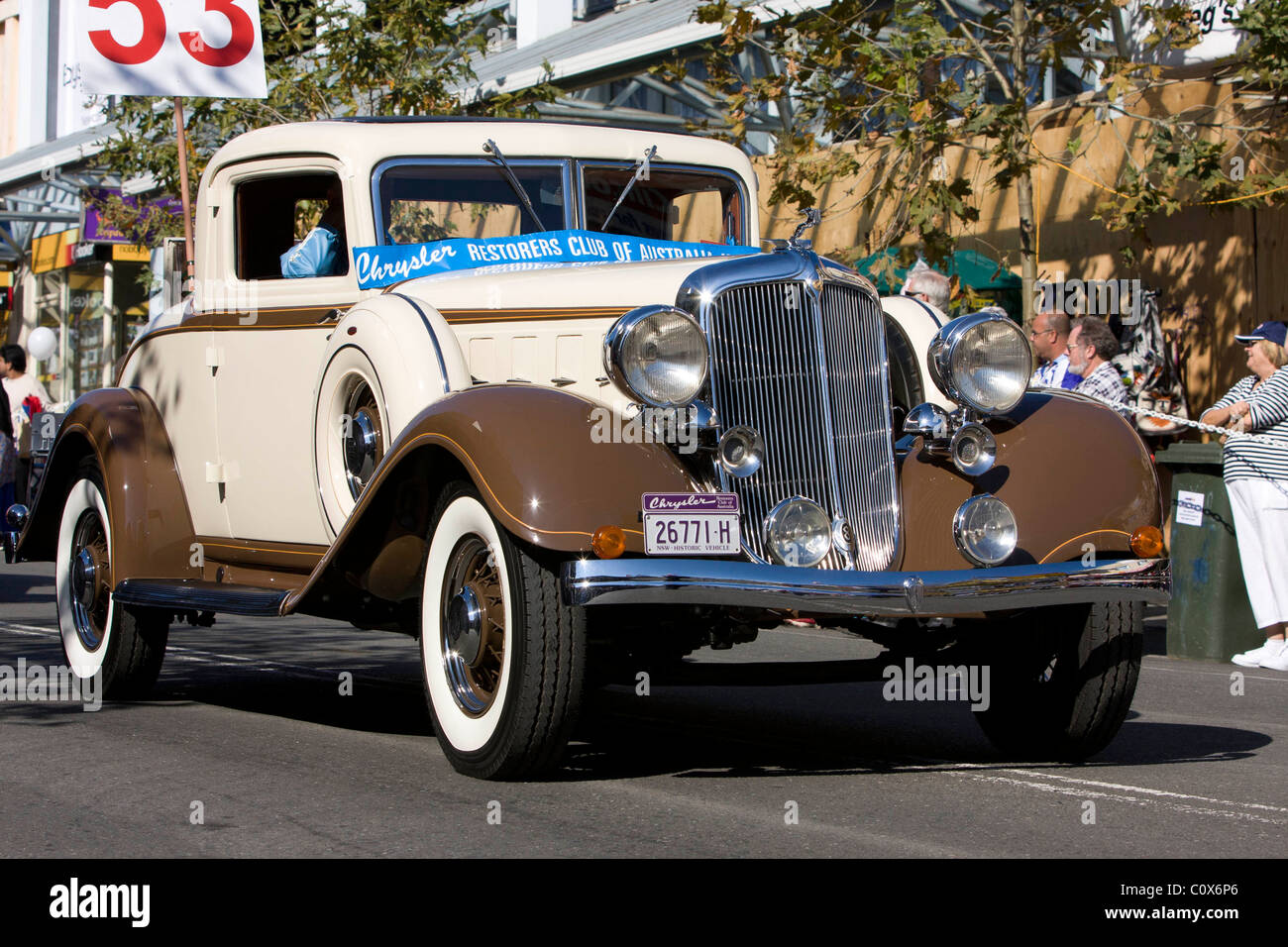 A Chrysler Coupe in a street parade in Blacktown, NSW, Australia - Stock Image