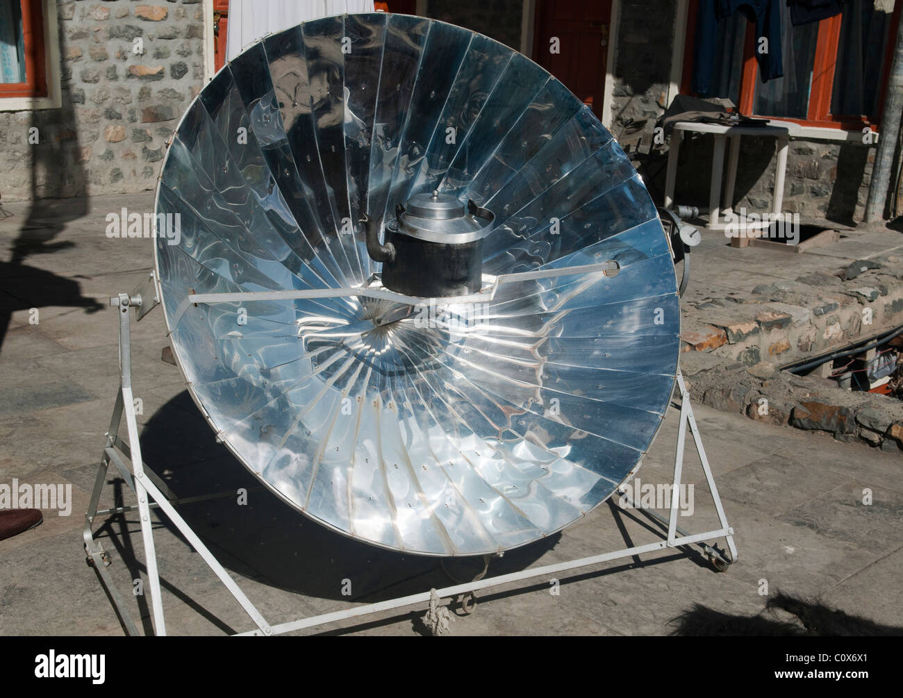 solar powered cooker at a lodge in Kagbeni in the Mustang area of the Annapurna region of Nepal - Stock Image