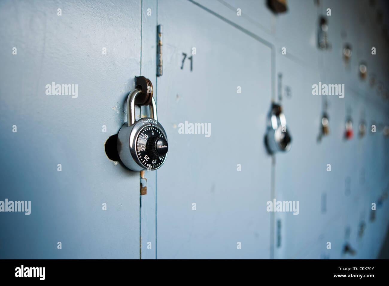 School lockers with padlocks. - Stock Image