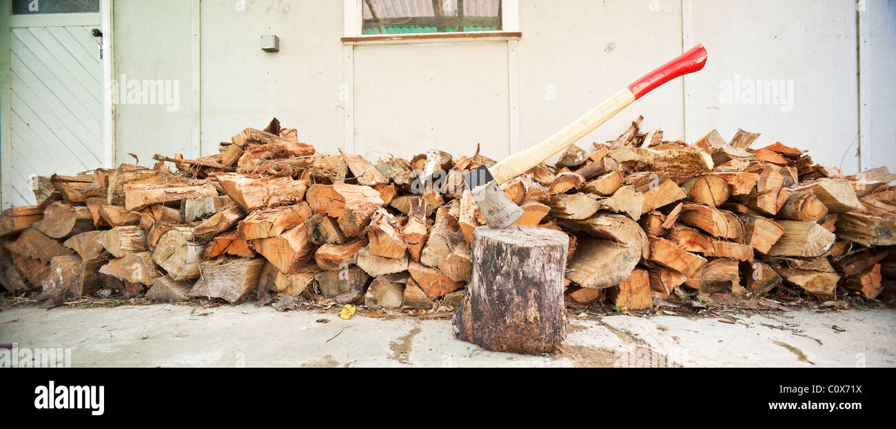 Large panorama axe and wood pile - Stock Image