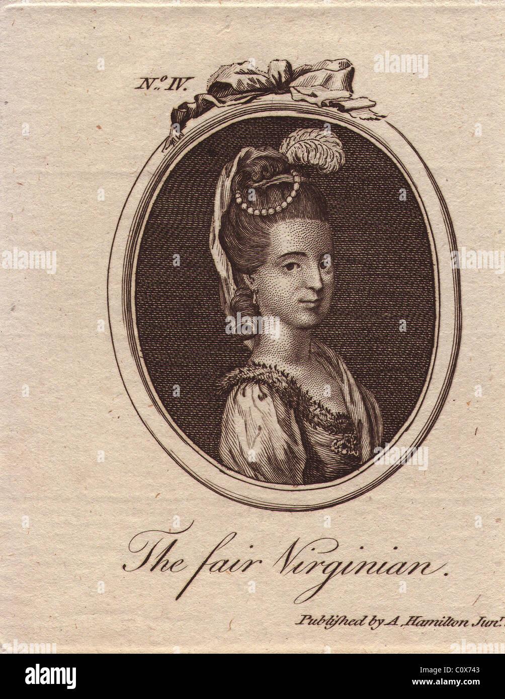 The Fair Virginian, mysterious 18th century beauty. - Stock Image