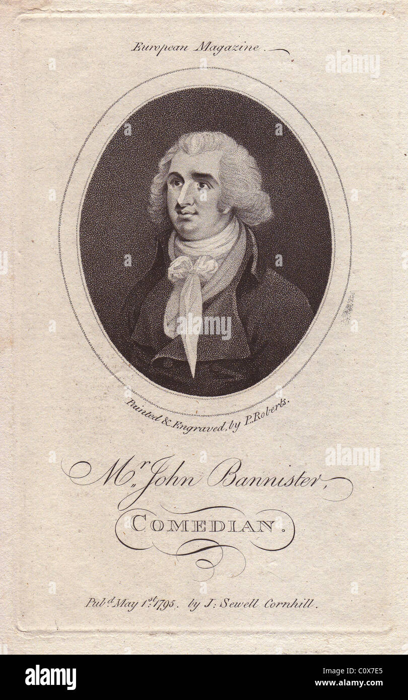 Mr. John Bannister (1760-1836), English actor, comedian and theatre manager. - Stock Image