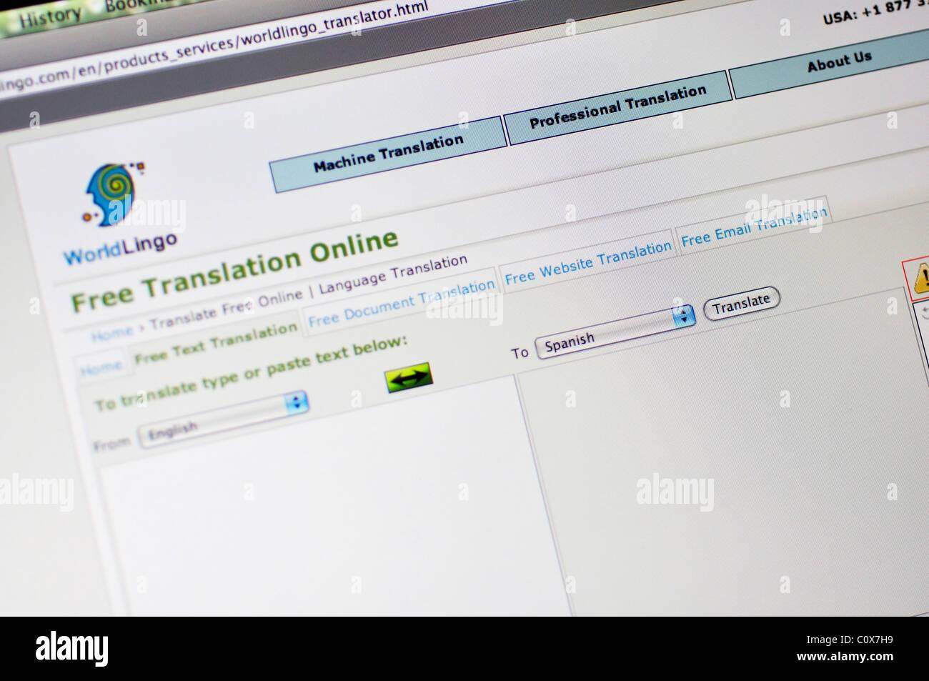 Worldlingo website -  Translation and Localization service - Stock Image