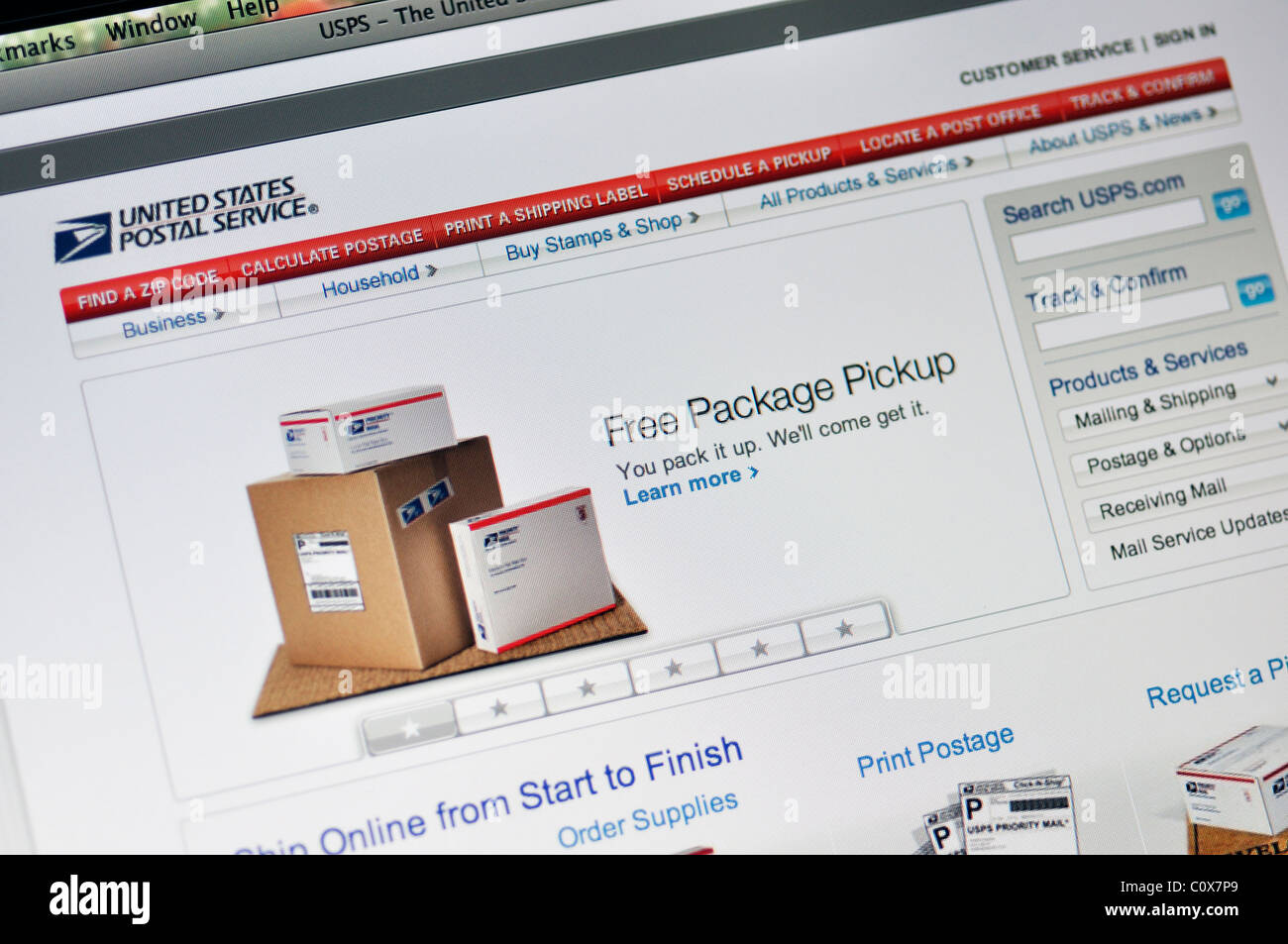 USPS website - US postal service - Stock Image