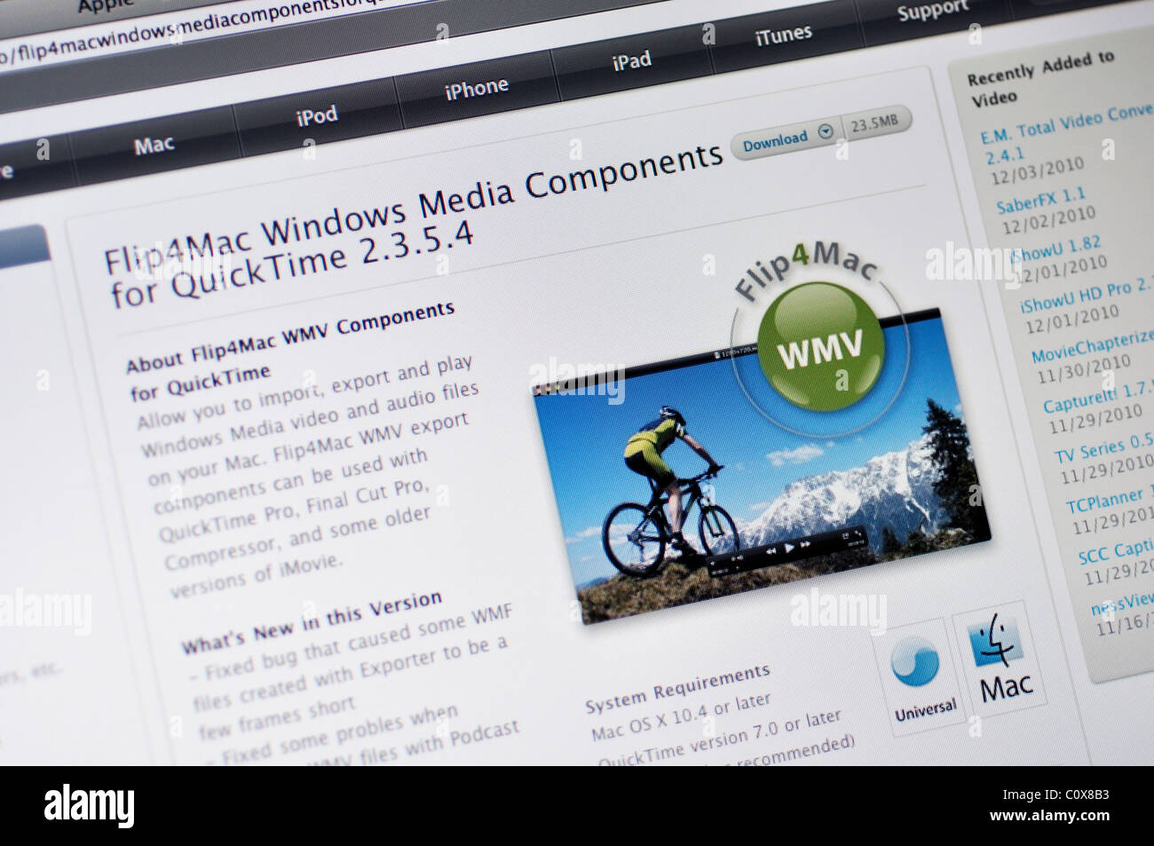 Flip4Mac WMV Windows Media components for QuickTime for making, editing, and playing Windows Media on Mac - Stock Image