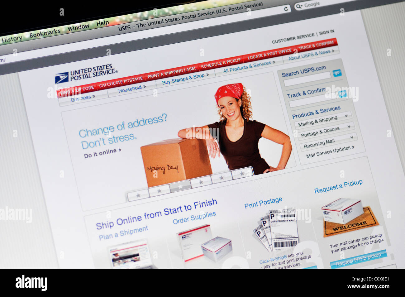 USPS website - US Postal Services - Stock Image