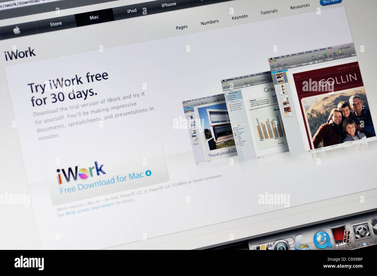 iWork website - office suite of desktop applications created by