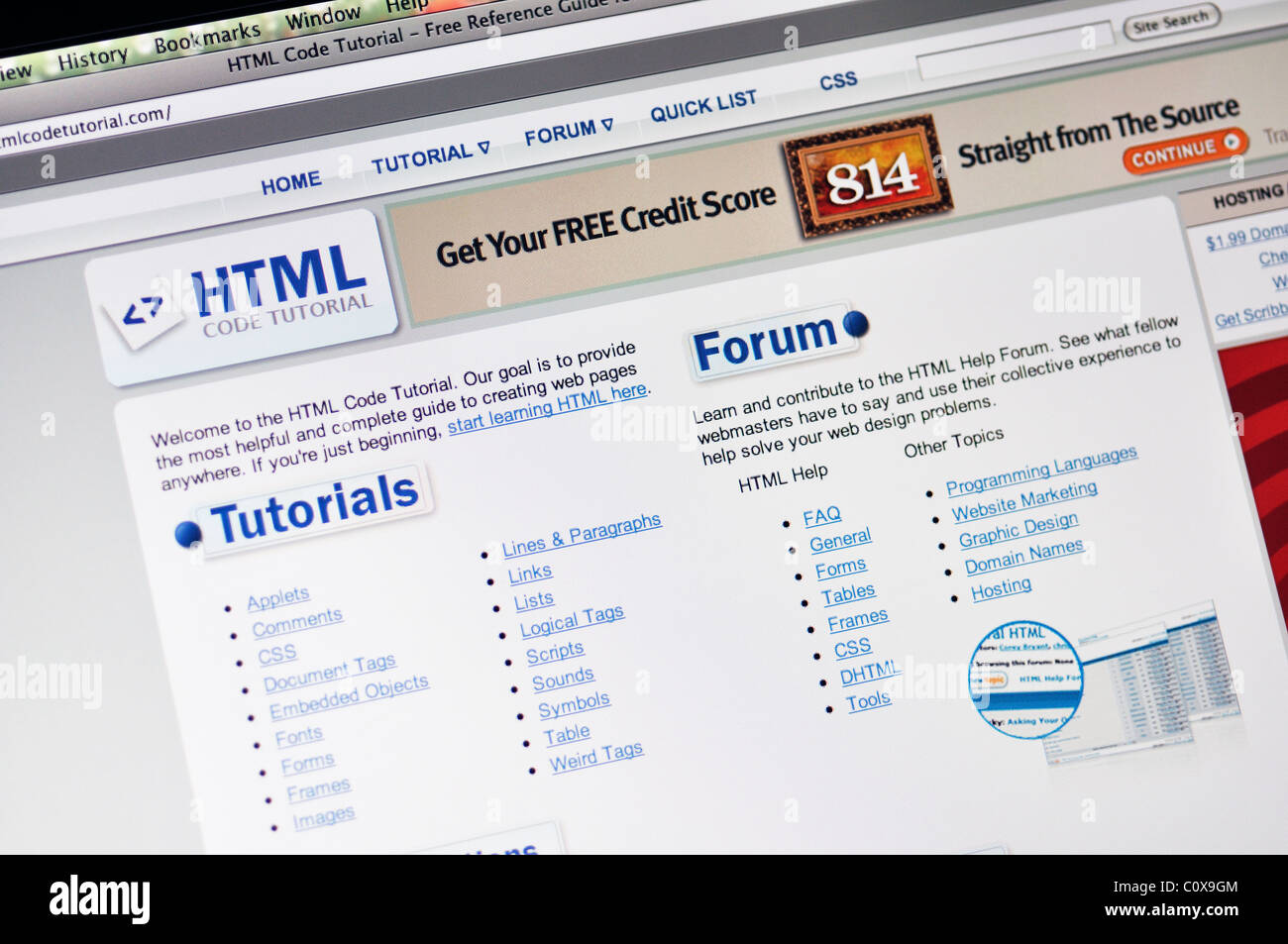 Www Htmlcodetutorial Com Website Html Code Tutorial For Learning Stock Photo Alamy