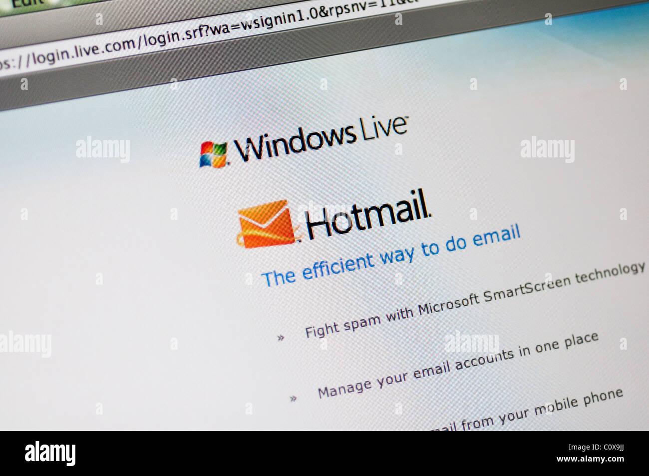 Hotmail website - Stock Image