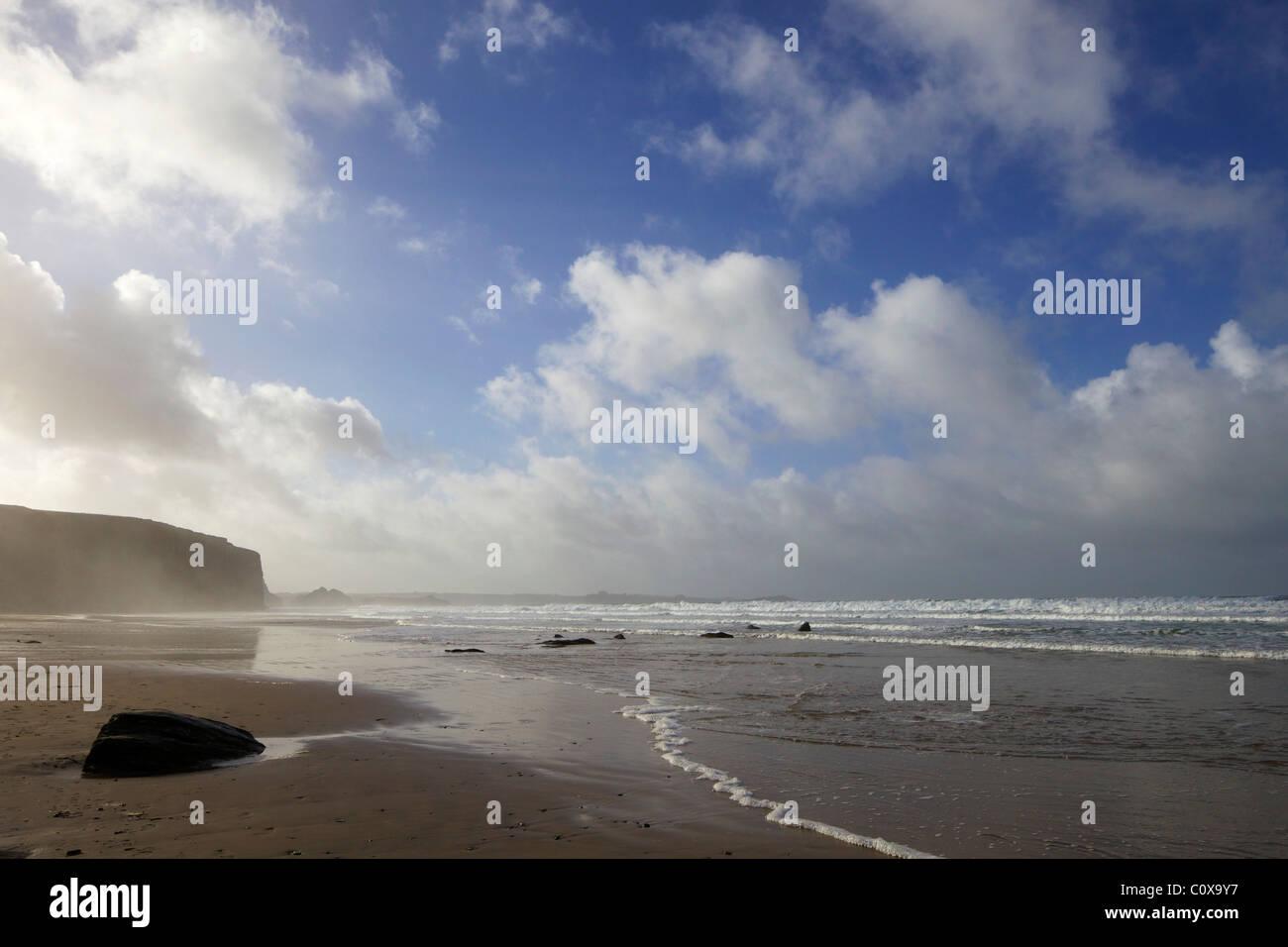 Beach at Watergate Bay, Newquay, Cornwall, South West England, UK, United Kingdom, GB, Great Britain, British Isles, - Stock Image