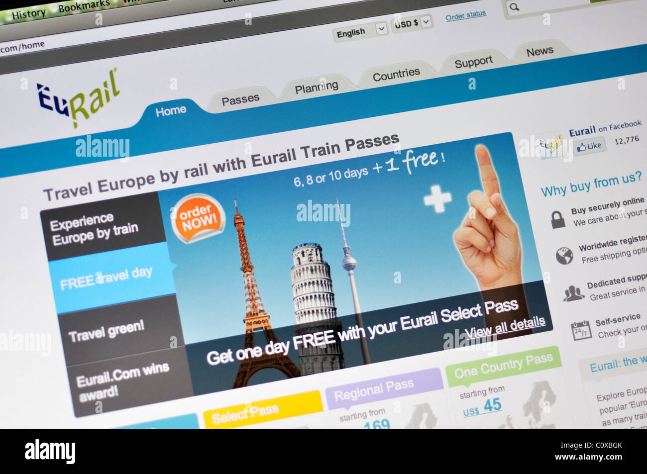 Eurail website - Passes & Seat Reservations on Europe Trains travel - Stock Image
