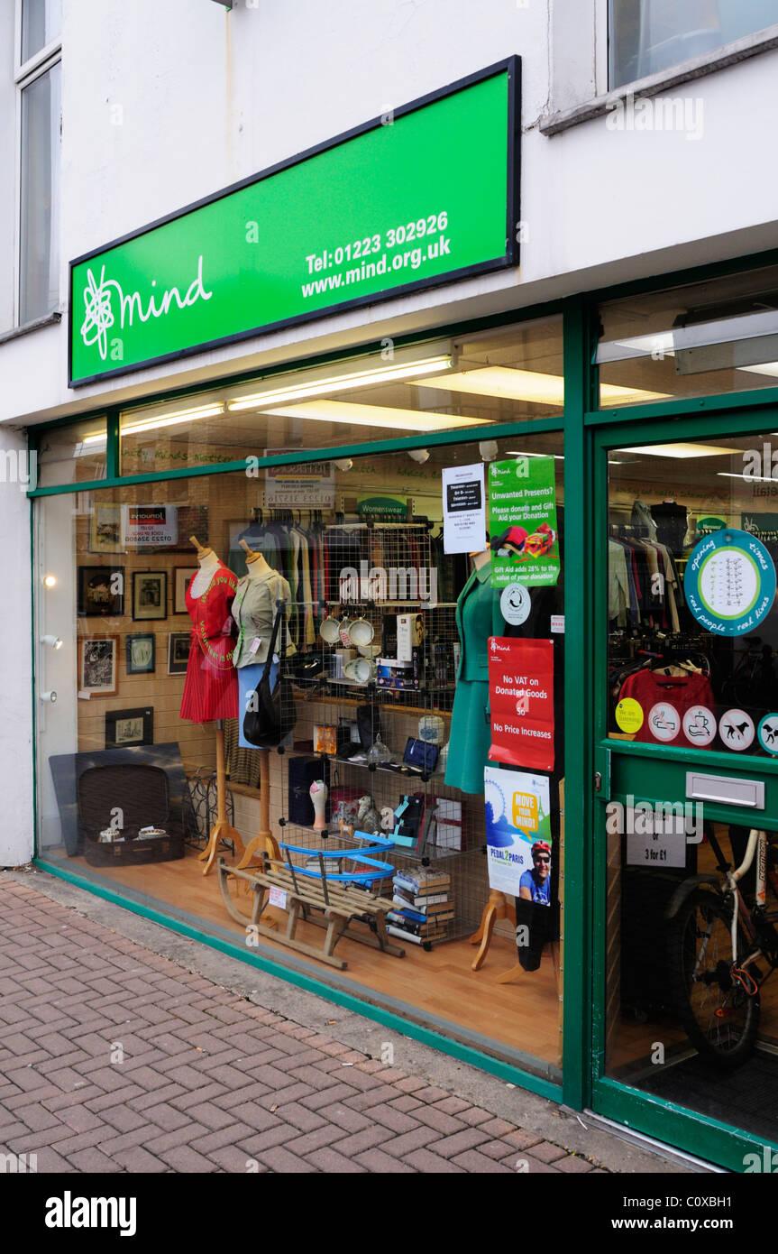 Mind Mental Health Charity Shop, Burleigh Street, Cambridge, england, UK - Stock Image