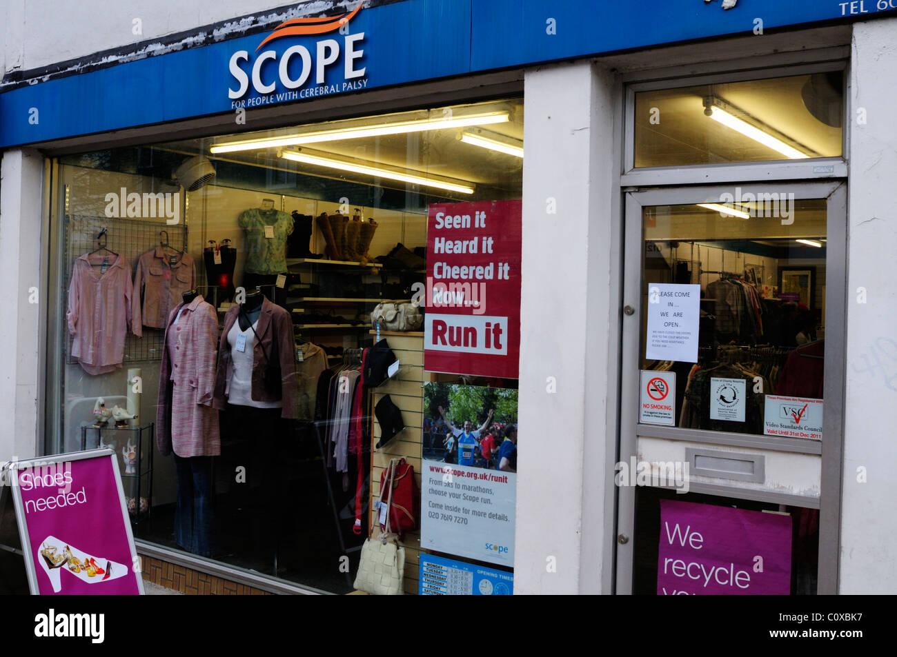 Scope Cerebal Palsy Charity Shop, Burleigh Street, Cambridge, England, UK - Stock Image