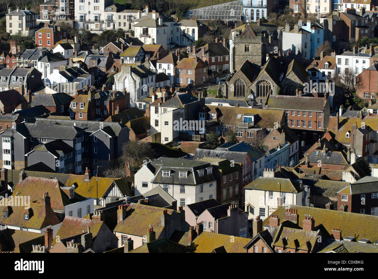 Hastings Old Town  Roof Tops seen from the East Hill - Stock Image