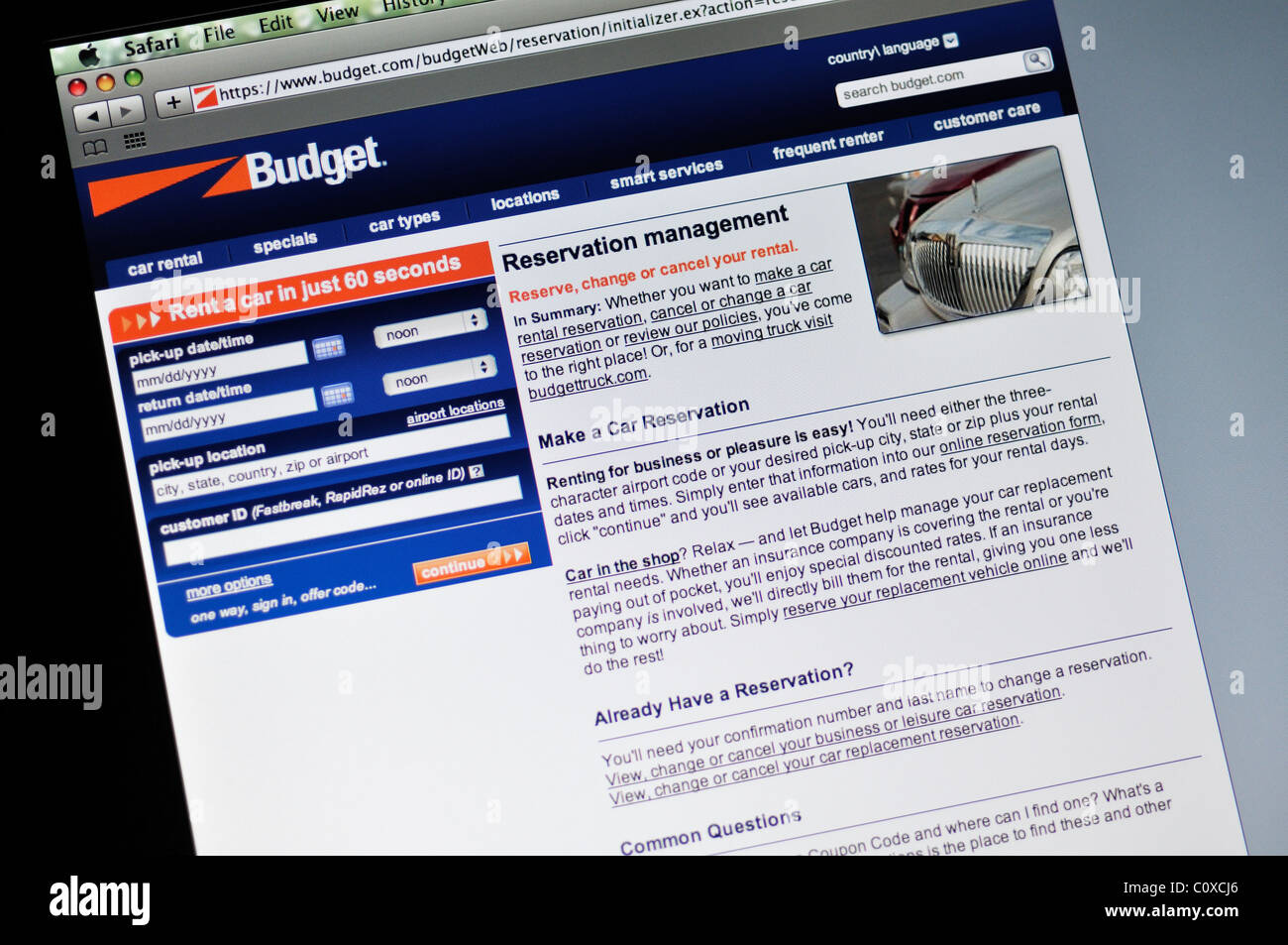 Budget Car Rental Website