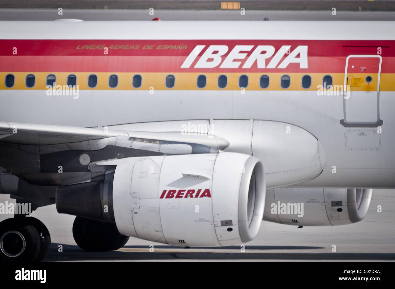 Iberia insignia passenger jet plane - Stock Image
