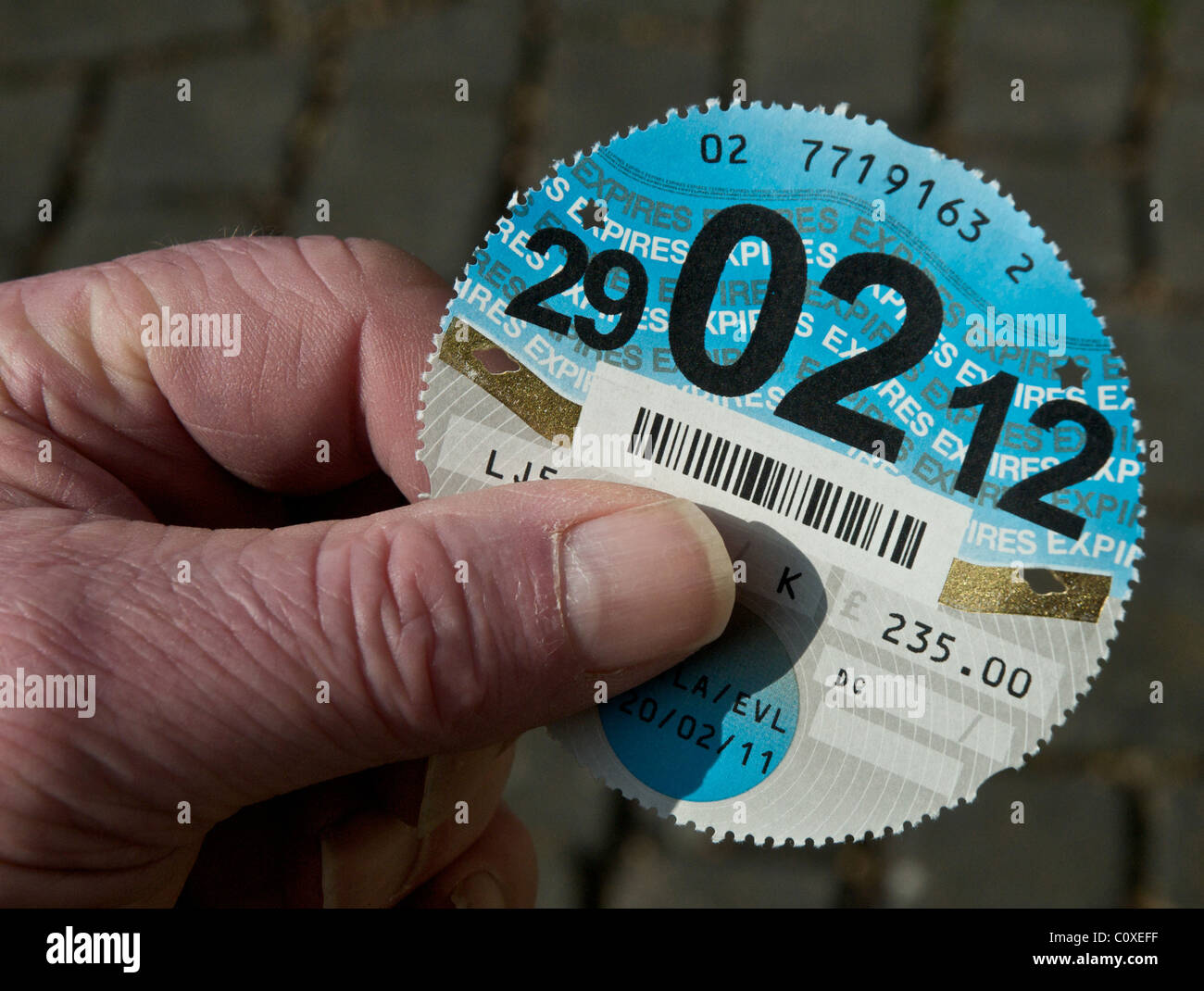 Tax Disc for UK vehicle. Road Fund Licence. DVLA - Stock Image