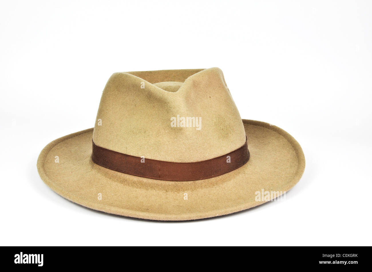 photo old used stetson cowboy hat on white - Stock Image