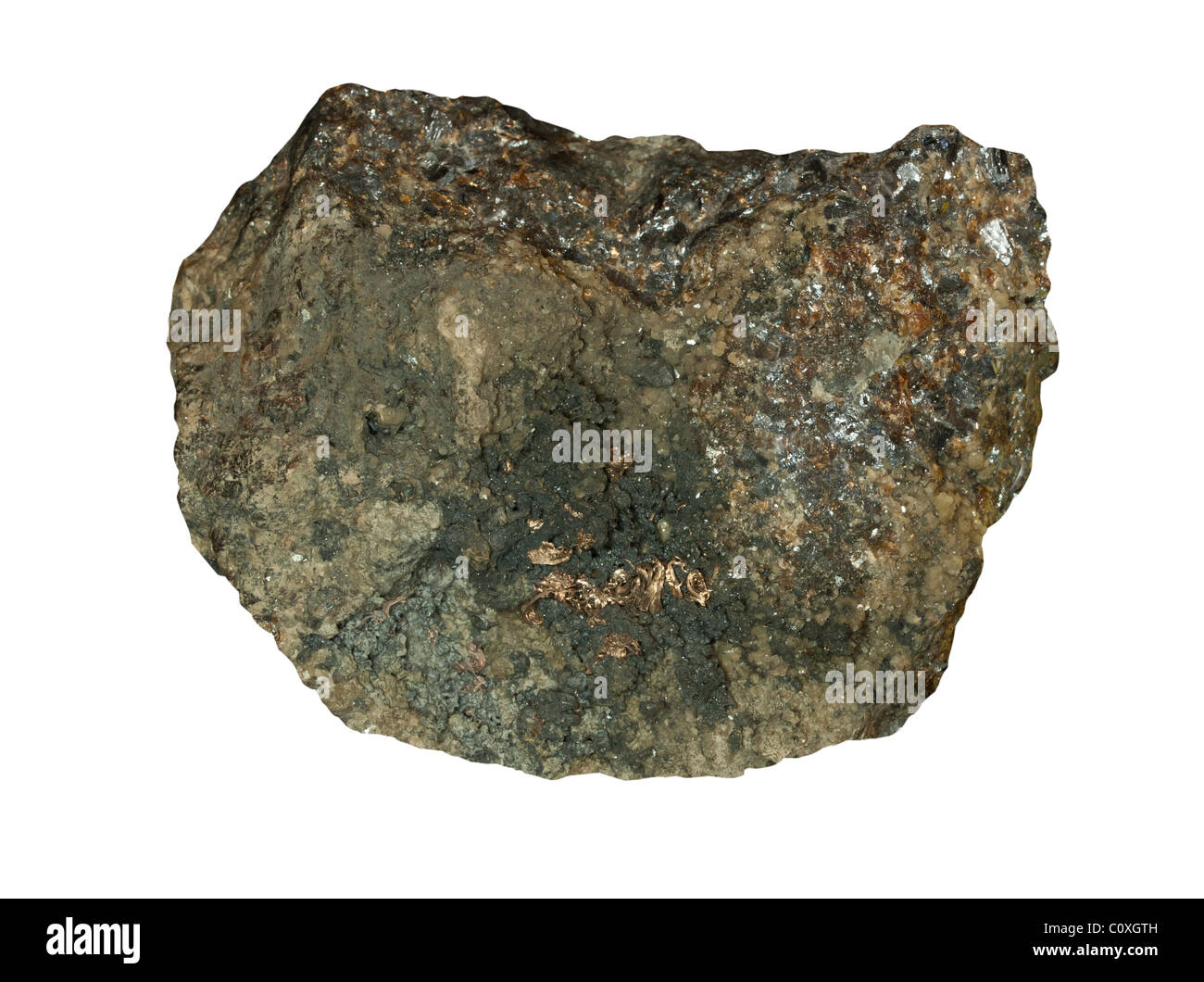 Native silver on Galena and Sphalerite minerals - Stock Image