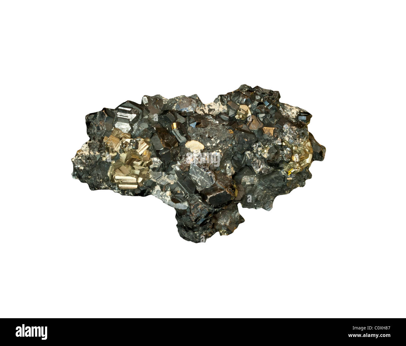 Sphalerite and Pyrite from Romania - Stock Image
