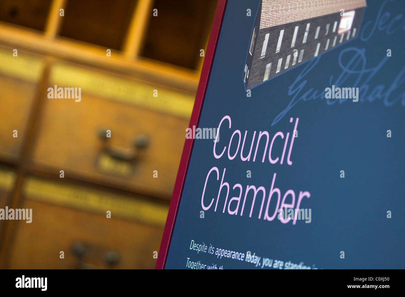 The Council Chamber inside the Guildhall, Boston, Lincolnshire - Stock Image