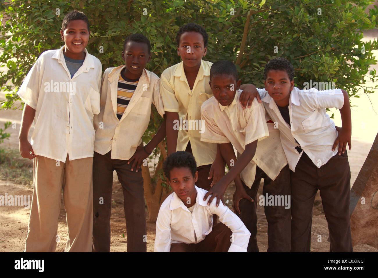 Schoolboys at school in Karima, Sudan. - Stock Image