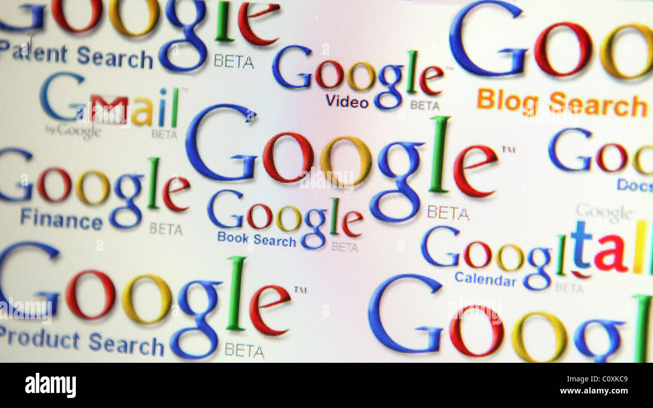 A screen shot showing the many Google services and products. - Stock Image
