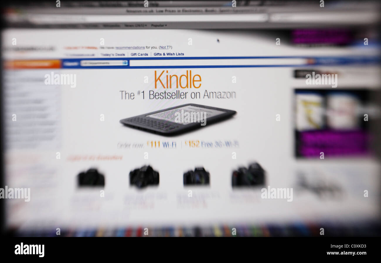 A screen shot showing the website Amazon . com on a mac with an advert for Kindle. - Stock Image