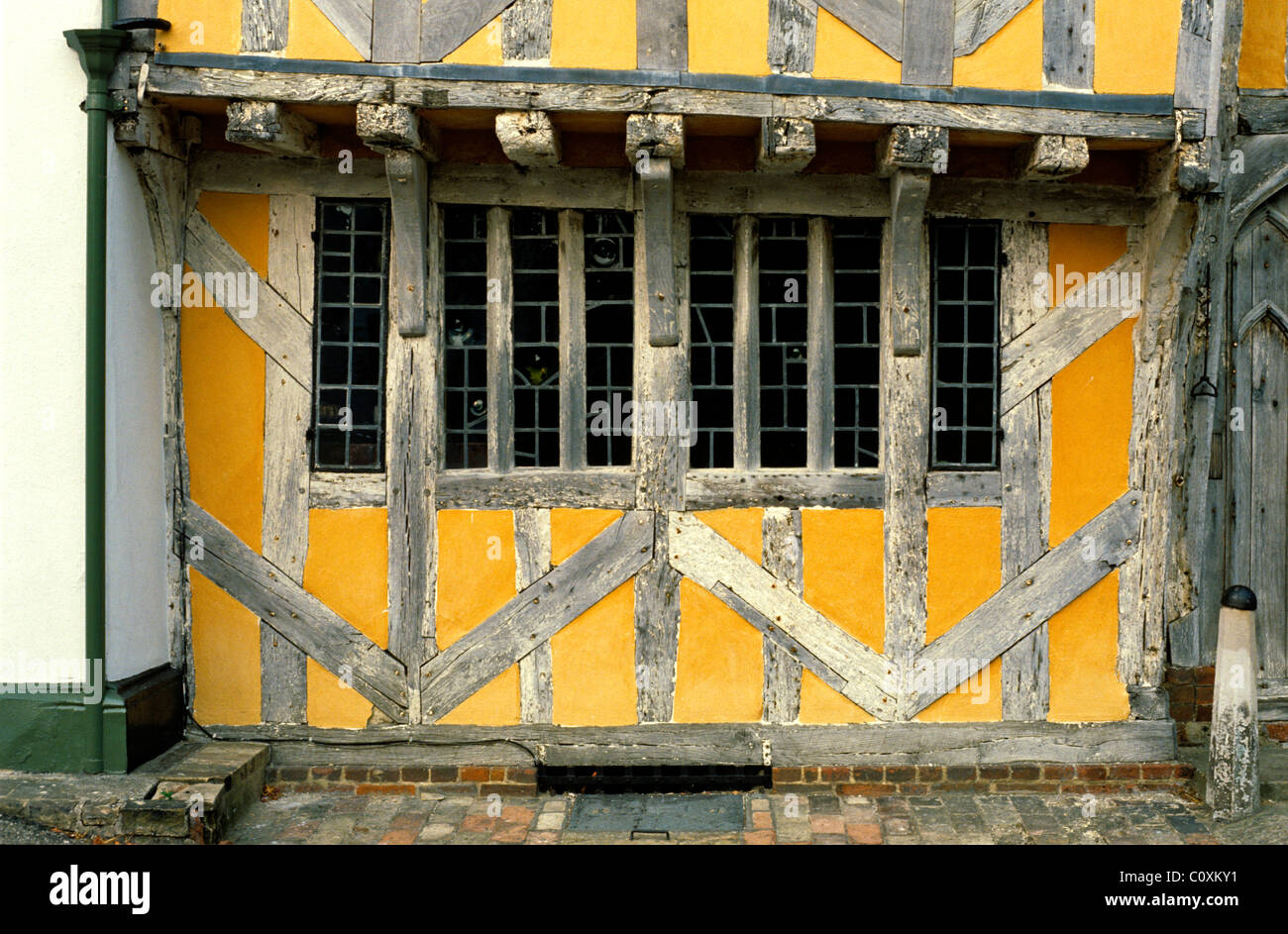 Detail of old timber framed building in Lavenham Suffolk - Stock Image