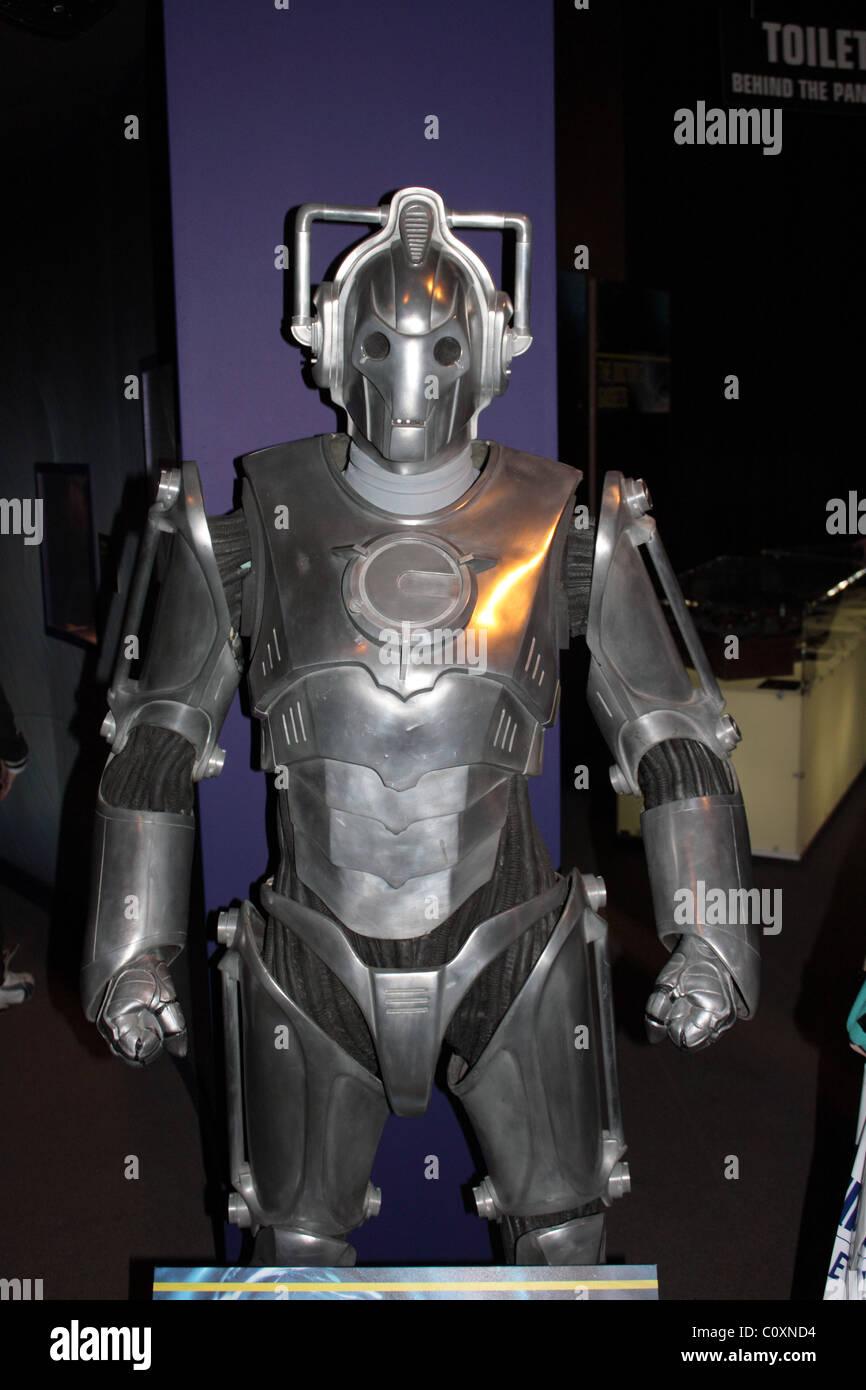 Cyberman exhibit, Doctor Who Experience, Hammersmith Road, London, England, Great Britain, United Kingdom, UK, Europe - Stock Image