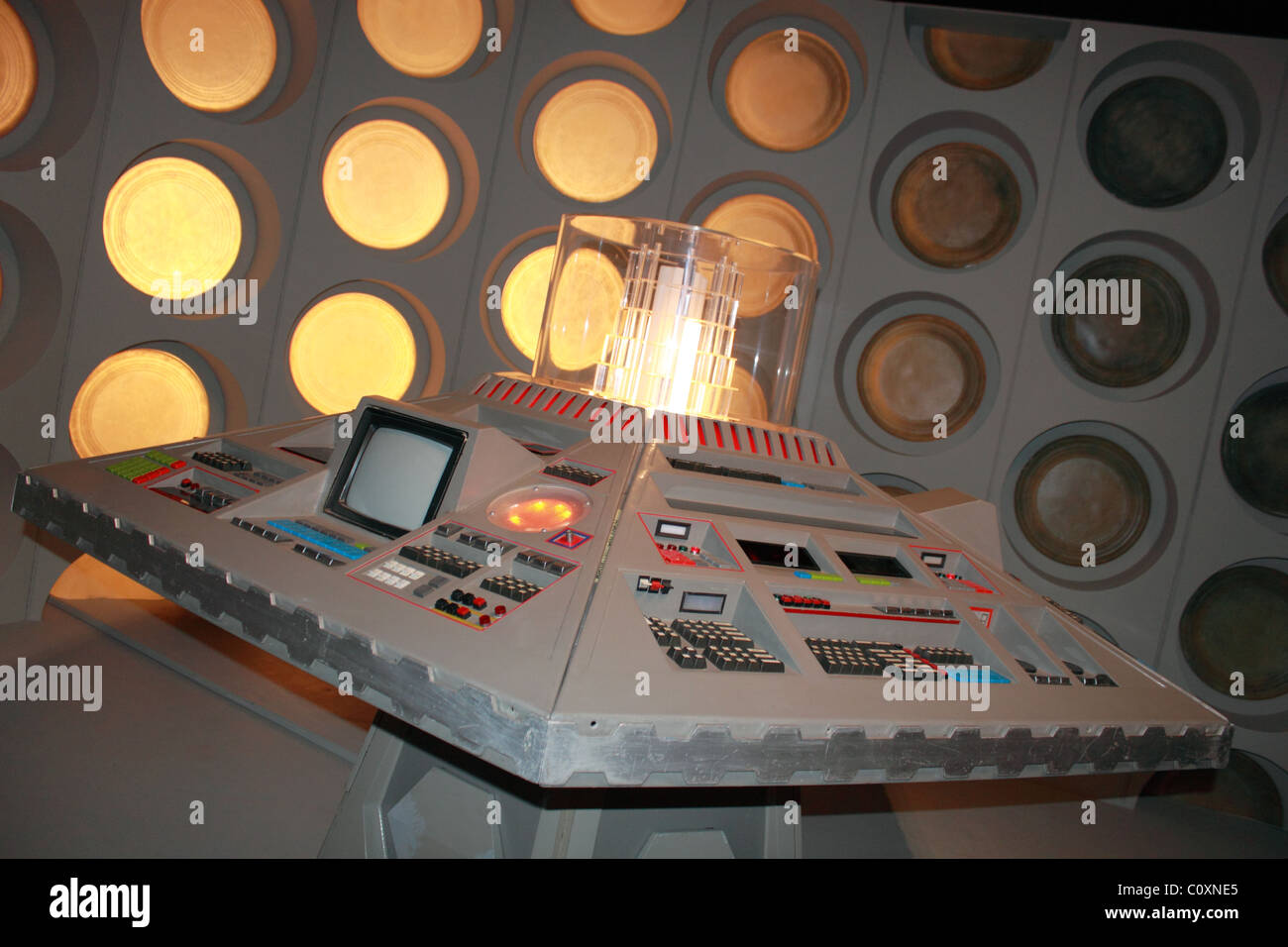 Early Tardis exhibit, Doctor Who Experience, Hammersmith Road, London, England, Great Britain, United Kingdom, UK, - Stock Image