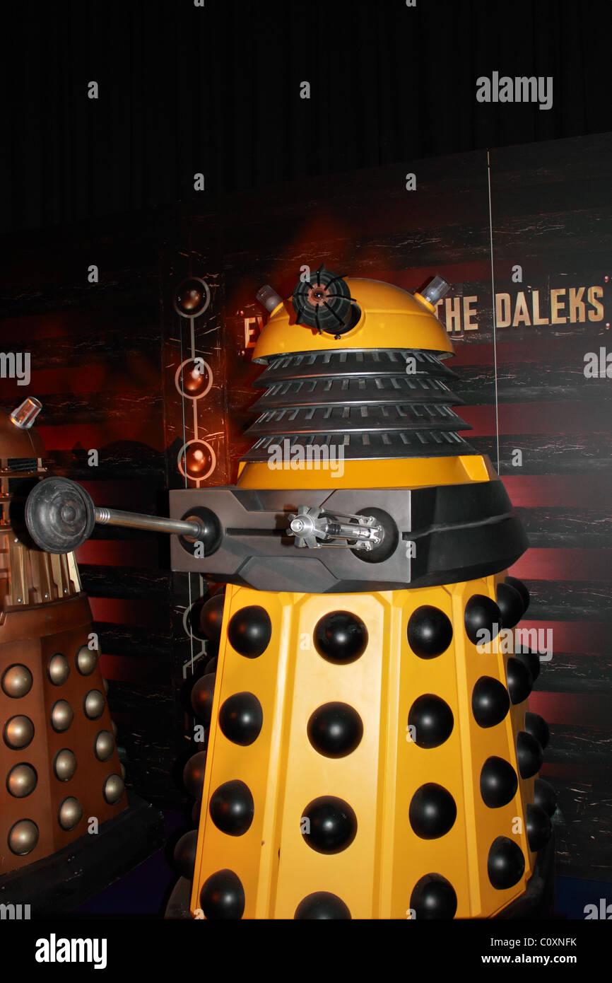 Dalek exhibit, Doctor Who Experience, Hammersmith Road, London, England, Great Britain, United Kingdom, UK, Europe - Stock Image