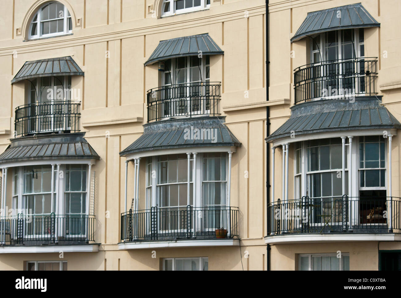 Bay Windows With Balconies Pelham Crescent Hastings East Sussex England - Stock Image