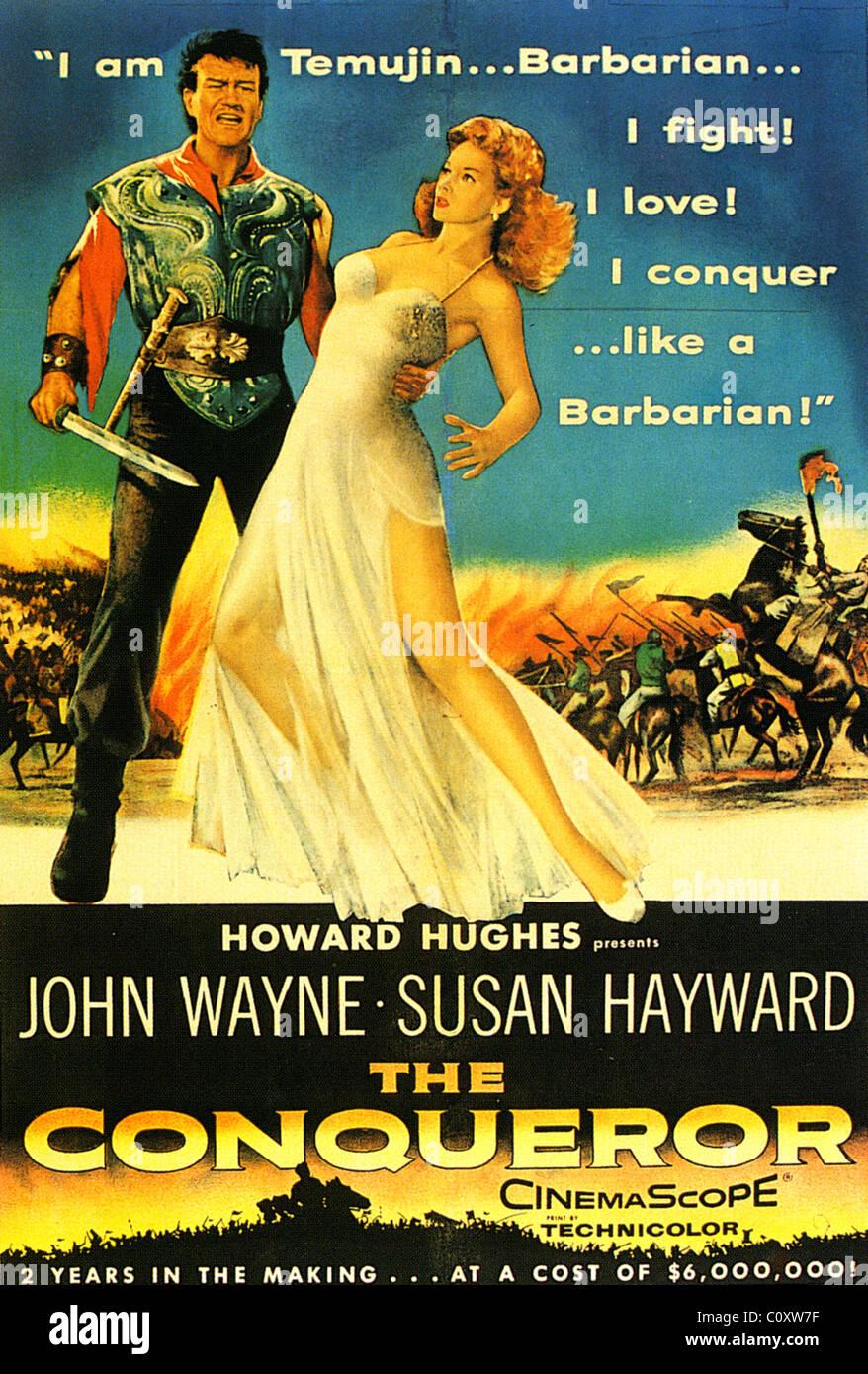 THE CONQUEROR Poster for 1956 RKO film with John Wayne and Susan Hayward - Stock Image