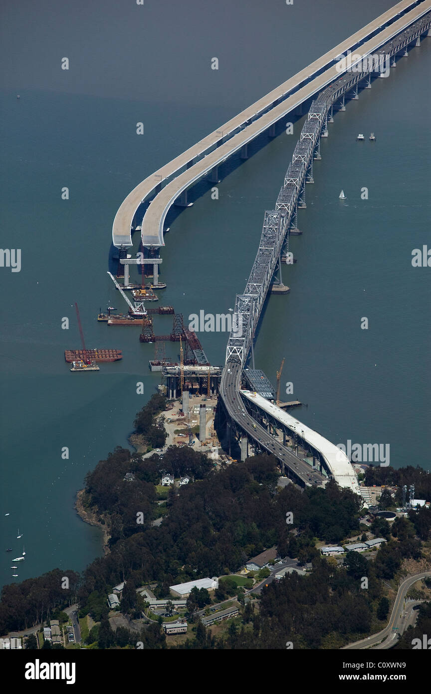 aerial view above construction of replacement span of San Francisco Oakland bay bridge - Stock Image