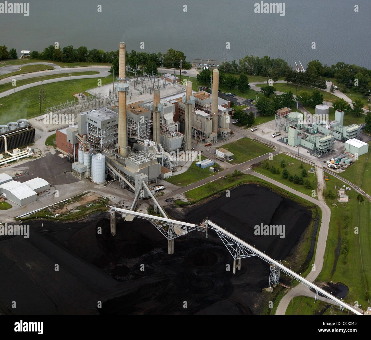 aerial view above coal power plant Missouri - Stock Image