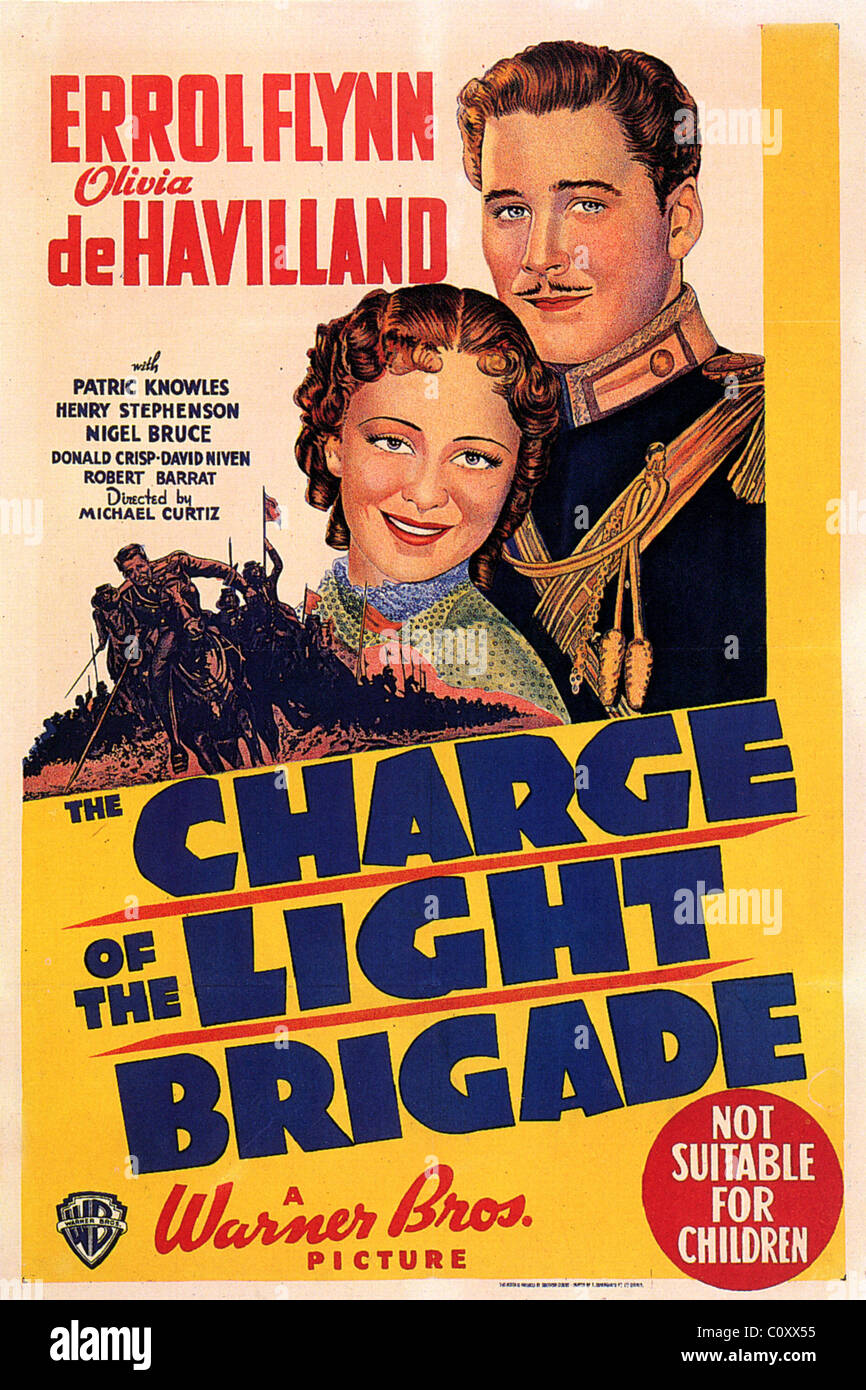 CHARGE OF THE LIGHT BRIGADE Poster for 1936 Warner film with Errol Flynn and Olivia de Havilland - Stock Image
