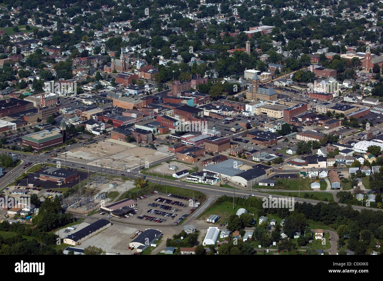 aerial view above center small city central Illinois - Stock Image
