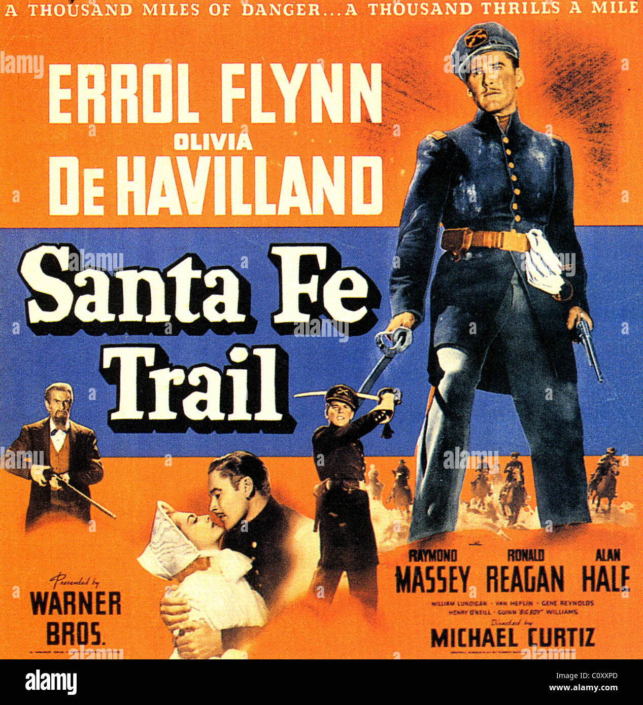 santa fe trail poster for 1940 warner bros film with errol