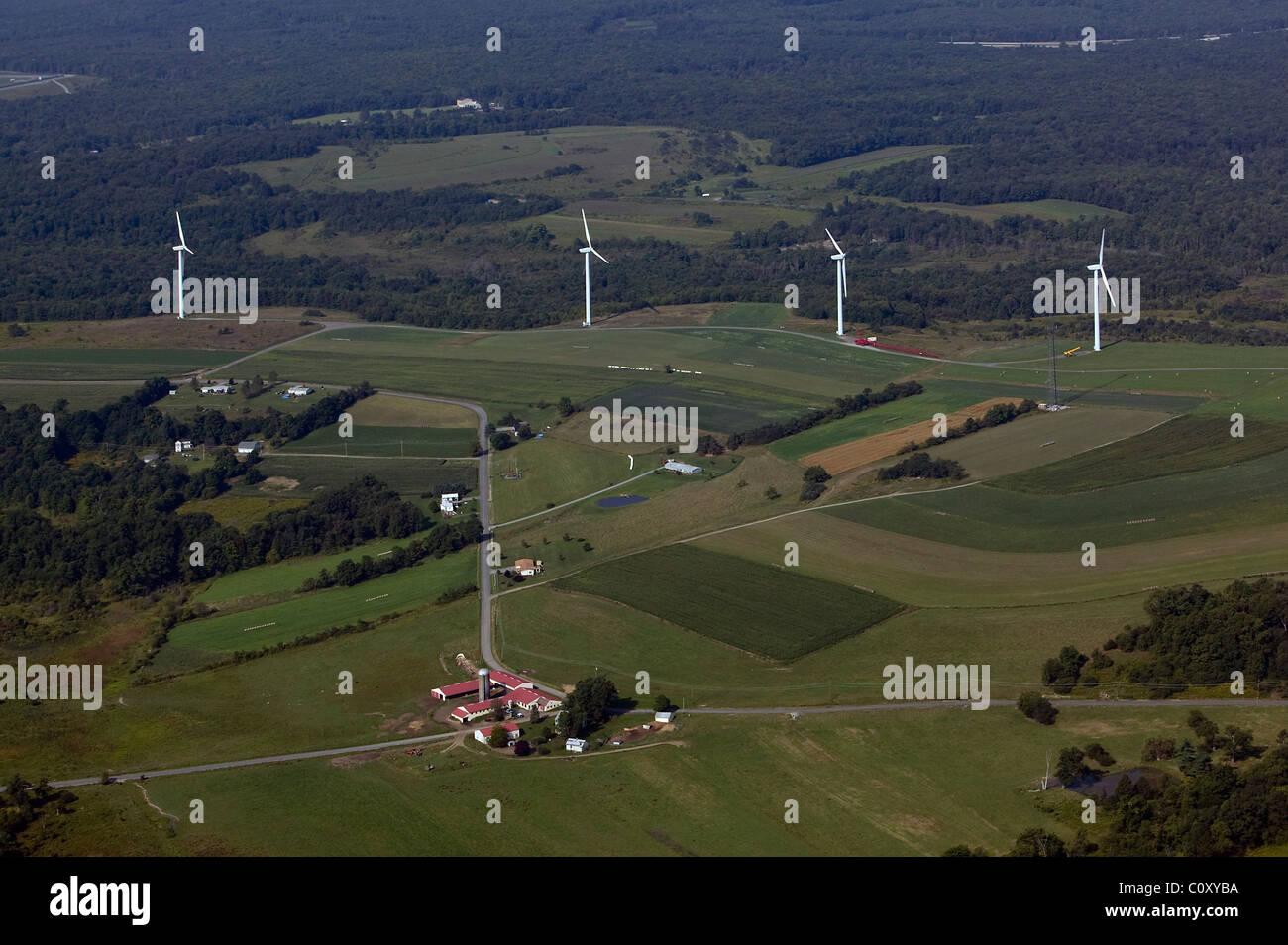 aerial view above wind turbines farm land Pennsylvania - Stock Image