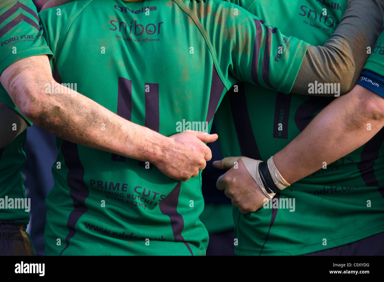 Rugby players. Team talk - Stock Image
