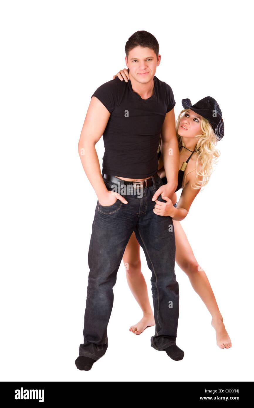 Hot couple posing isolated on white - Stock Image
