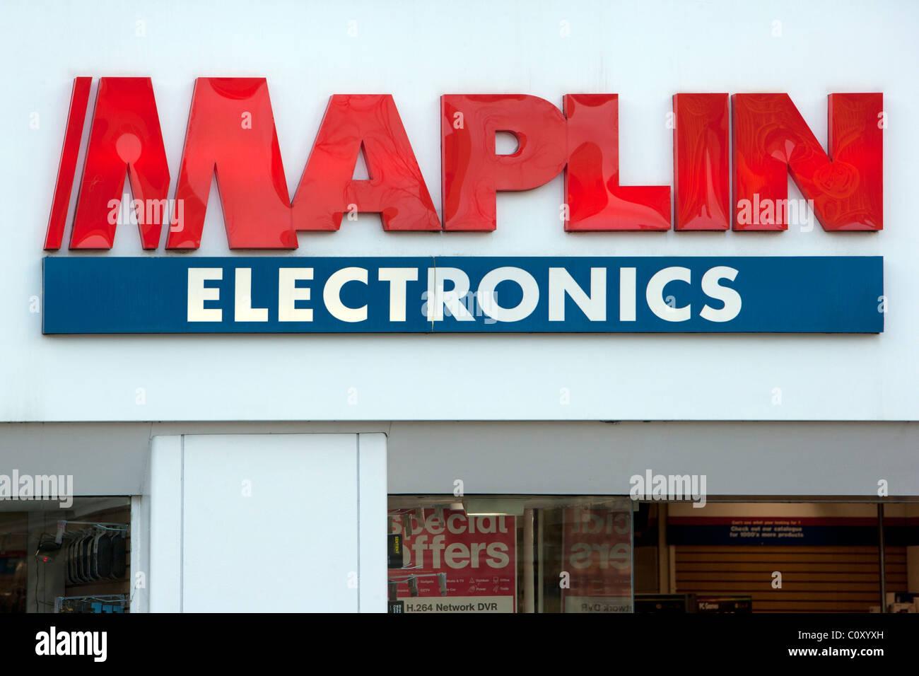 Maplin Electronics sign and logo - Stock Image