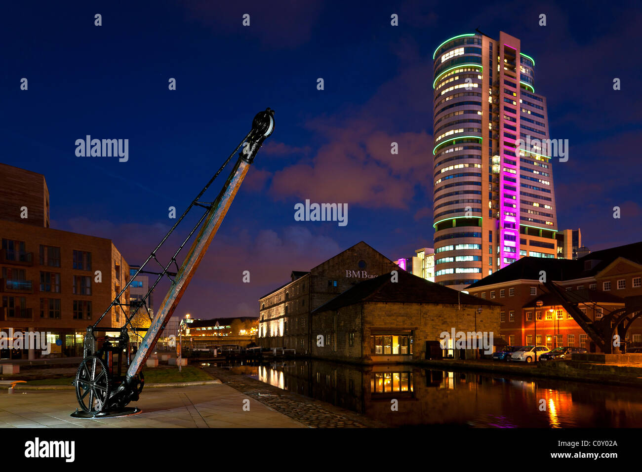 Bridgewater Place in Leeds city centre at night. Stock Photo