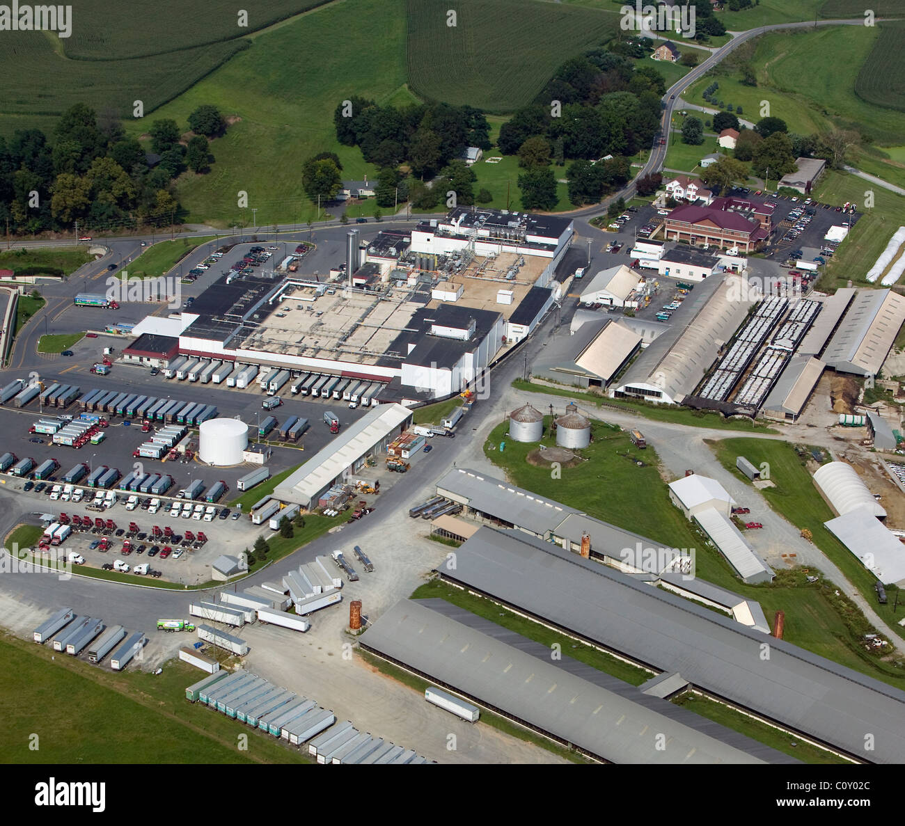 aerial view above Turkey Hill Dairy Lancaster county Pennsylvania - Stock Image